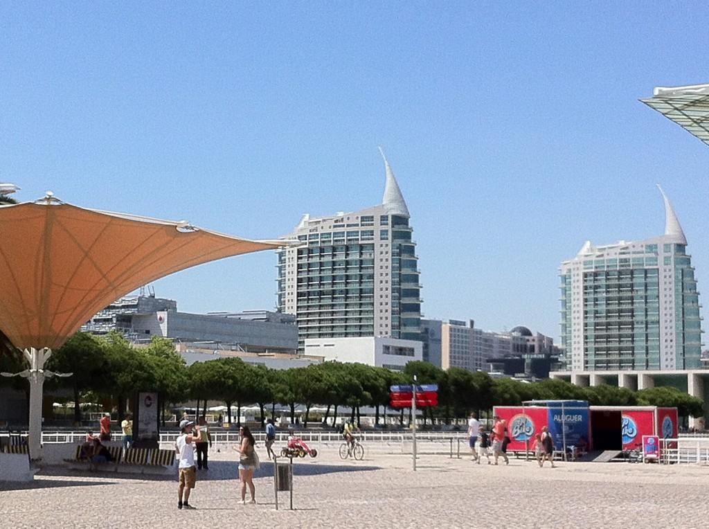 Lisbon park and skyline