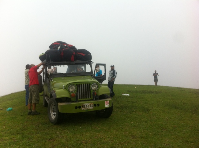 Jeep at paragliding launch site in Roldanillo